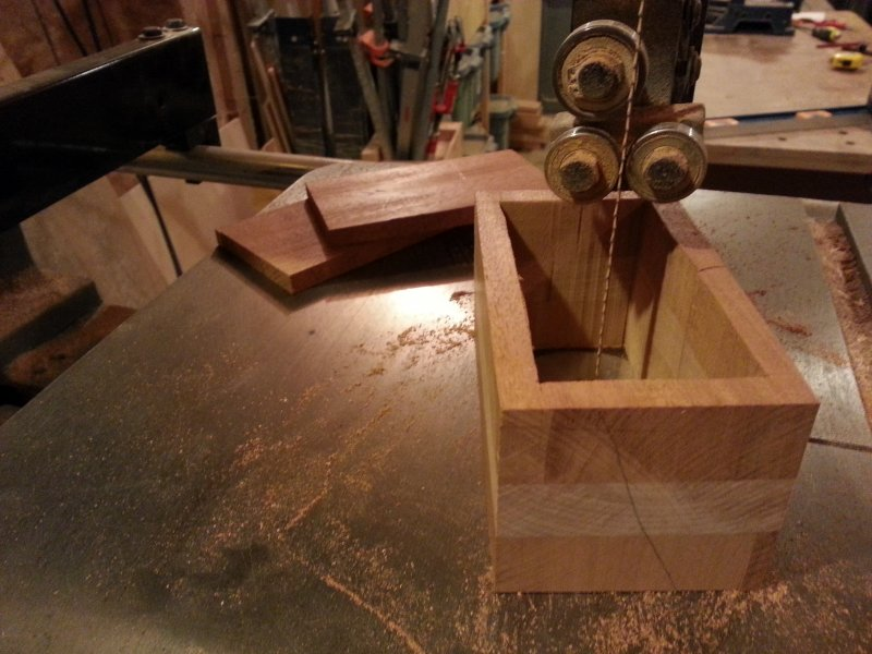 On the band-saw, cut both sides and the interior of the box.