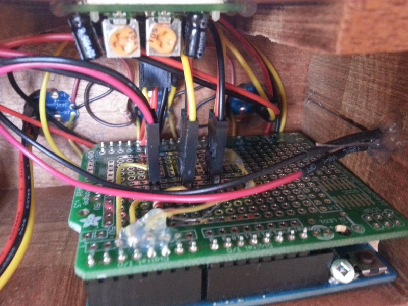 Arduino + Shield with the power LED wire on the right