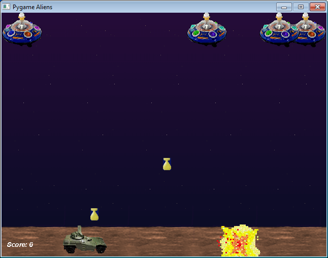 PyGame example game aliens.py
