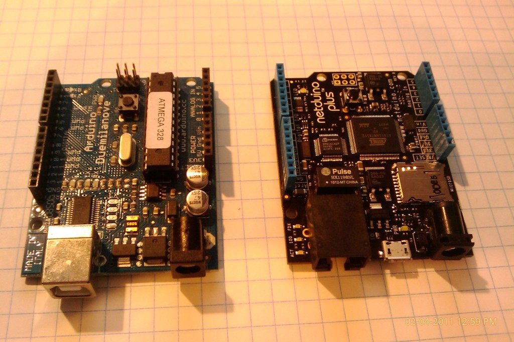 The Arduino (left) and the Netduino Plus (right) side by side