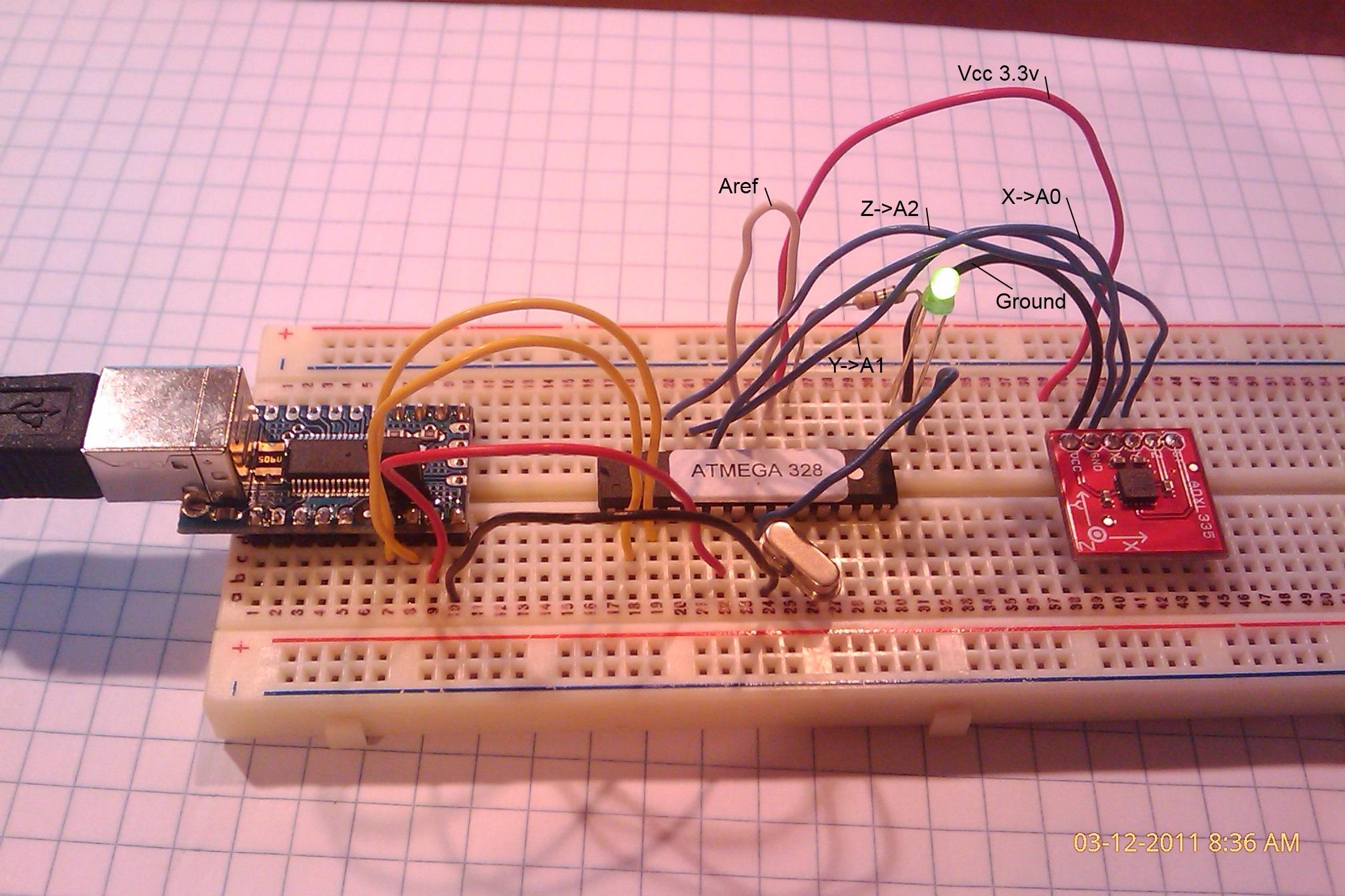 Triple axis accelerometer and custom Arduino board