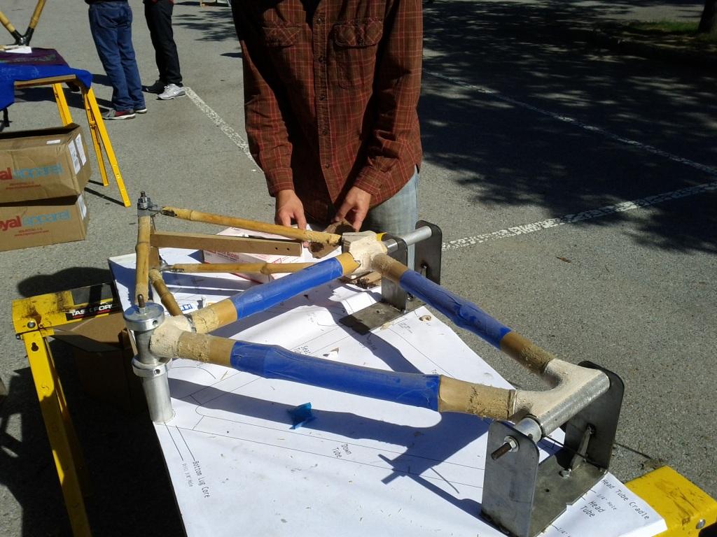Bamboo bike in construction